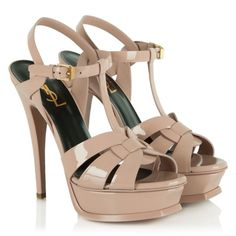 YSL Saint Laurent Pink Patent Leather Tribute Platform Sandal
