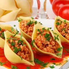 This stuffed pasta shells recipe has only a small amount of parmesan cheese in the meat mixture, perfect if you are in the mood for a pasta dish that is light on the cheese.