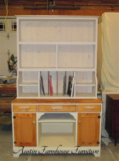 One Desk + One Dumpster Plywood Box = An Amazing New Hutch by Austin Farmhouse Furniture - Featured On Furniture Flippin'