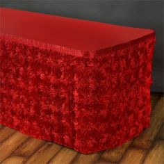 14Ft Wonderland Rosette Table Skirt - Red