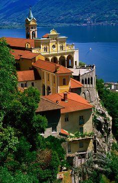 Overhead of Sanctuary of Madonna del Sasso n Lago Maggiore, Locarno, Ticino_ Switzerland