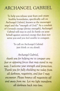 Prayer to Archangel Gabriel to help you release your fears and create healthy bounderies.