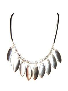 CICLON Silver & Black Leather Leaf Drop Necklace by Jackie Brazil #CICLONandJackieBrazil #Statement