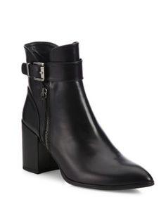 STUART WEITZMAN Laptop Leather Dress Block-Heel Booties. #stuartweitzman #shoes #boots