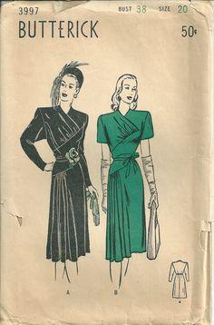 1940s film noir reproduction vintage dress pattern. $20.00, via Etsy.