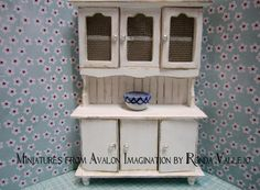 Miniature dollhouse 1:12 scale shabby/country/cottage hutch in white with bead board