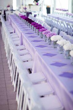 Purple Ombre Floral Centerpieces // Posy, Wedding and Event Florist // Columbus Ohio Bat Mitzvah Decorations, Bat Mitzvah Centerpieces, Bat Mitzvah Themes, Bat Mitzvah Party, Floral Centerpieces, Flower Arrangements, Lavender Wedding Colors, Purple Wedding, Wedding Reception Table Decorations