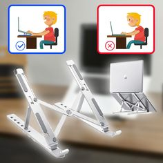 This Laptop Stand Saves You From Bad Posture No More Rounded Shoulders And Slouching Diy Laptop Stand, Laptop Desk, Bad Posture, Wood Phone Holder, Diy Furniture Videos, Mobile Stand, Desk Tidy, Workshop Storage, Stand Design
