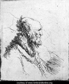 A bald old Man with a short Beard, in Profile Right - Rembrandt Van Rijn - www.rembrandtonline.org