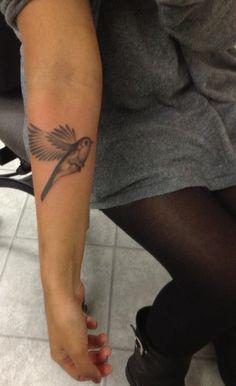 robin tattoo- with a little orange in it