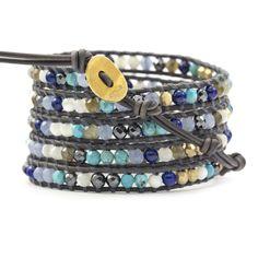 Chan Luu - Blue Mirage Mix Wrap Bracelet on Natural Grey Leather, $198.00 (http://www.chanluu.com/wrap-bracelets/blue-mirage-mix-wrap-bracelet-on-natural-grey-leather/)