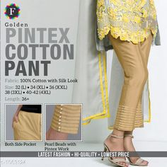Trousers & Pants Trendy Cotton Women's Pant  *Fabric* Cotton  *Size* L - 32 in, XL - 34 in, XXL -36 in, 3XL - 38 in, 4XL - Up To 40 in To 42 in  *Length* Up To 36 in  *Type* Stitched  *Description* It Has 1 Piece Of Women's Pant  *Work* Beads Work  *Sizes Available* L, XL, XXL, XXXL, 4XL *    Catalog Name: Jivika Pretty Cotton Women's Pants CatalogID_129835 C79-SC1034 Code: 574-1063124-