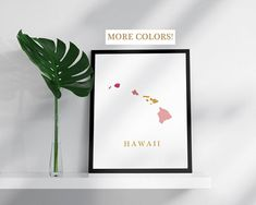 Hawaii map print USA state poster state map print hawaian modern wall art USA prints map pink gold mosaic map Hawaii art print Hawaii poster