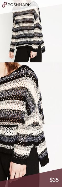 """Zara loose knit striped sweater Zara loose knit striped sweater. Black, gray, and white stripes. Boat neck. Dropped sleeves. Hi-lo hem. Slightly oversized fit. Perfect for casual weekends. 100% cotton. Length 24-28"""". Zara Sweaters Crew & Scoop Necks"""