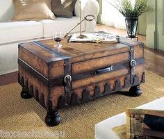 Old World Map Style Steamer Storage Trunk