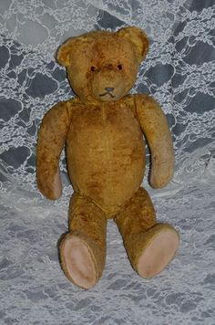 Old Teddy Bear Jointed  22' Tall Flat Feet Wonderful Face Doll Friend