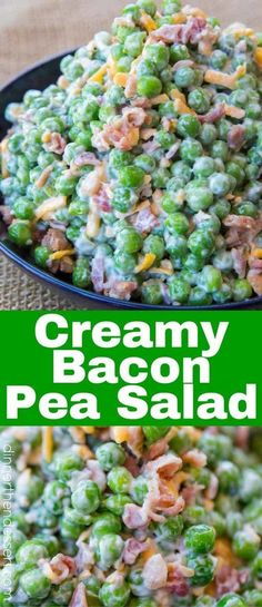 We love this cold creamy pea salad with bacon!