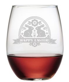 Beautifully and deeply etched, these Happy Easter Banner stemless wine glasses are one of a kind.  Perfect for entertaining this Easter and great to give as an Easter gift to a friend or loved one.