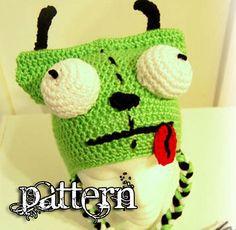 bfc22e52303 GIR - Invader Zim Crochet Hat PDF Pattern Knit Or Crochet
