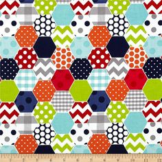 Red Navy Lime Aqua Gray Hexi Print and Minky by DesignsbyChristyS