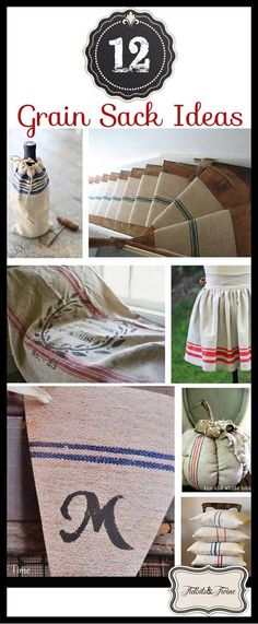 A look at 12 uses for grain sacks, including links to tutorials and information on what IS a grain sack and where to buy them! Burlap Coffee Bags, Coffee Sacks, Vintage Kitchen Decor, Vintage Decor, Vintage Linen, Sisal, Burlap Sacks, Sack Bag, Farmhouse Furniture