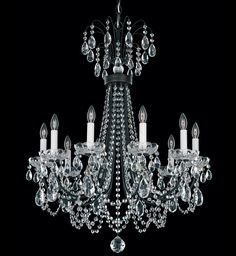 Schonbek Heirloom Bronze Lucia 10 Light Wide Crystal Chandelier with Clear Swarovski Heritage Crystals Schonbek Chandelier, Schonbek Lighting, White Chandelier, Chandelier Lighting, Crystal Light Fixture, Crystal Chandeliers, Traditional House, Bulb, Lanterns