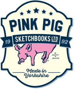 Pink Pig Sketchbooks - Made in Yorkshire Logo for Created for the launch of Pink Pig in the USA & Germany. Here's to our future Global Ambition! Pink Pig Sketchbook, Bookbinding, Ambition, Sketchbooks, Yorkshire, Cheers, Germany, Product Launch, Personalized Items