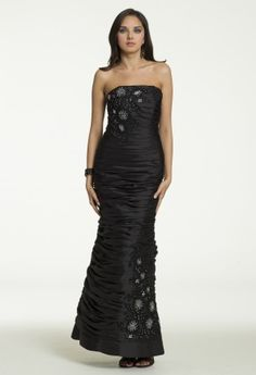Strapless Shirred Dress with Beaded Appliques from Camille La Vie and Group USA #homecoming #homecomingdresses #prom