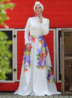1dddb87d70d0 White Floral Unlined Crew neck Viscose Muslim Evening Dress Neslihanedan
