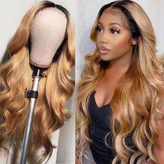 Blonde Hair Black Girls, Honey Blonde Hair, Blonde Weave, Blonde Ombre, Long Blonde Wig, Wig Styles, Curly Hair Styles, Natural Hair Styles, Blonde Lace Front Wigs