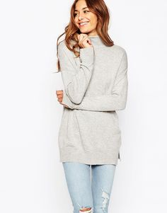Image 1 of ASOS Tunic With High Neck In Cashmere Blend