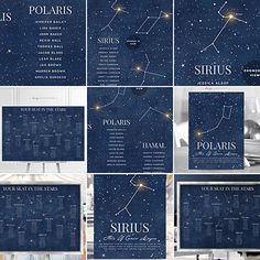 Starry Night Wedding Theme | Do you know all the Star Names of the Night Sky? Name your guest tables by the brightest stars. Check out my new collection for Table Names, Seating Charts, Menus, as well as other matching items which can be customised for any event A Starry Night Wedding, Starry Night Birthday Party, Starry Night Prom, Starry Night Baby Shower, etc. | Copyright © Soumya's Invitations | Visit www.soumyasdesigns.com for more Starry Night Sky and Celestial items! #starrynightheme