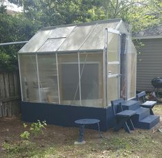 I Painted harbor freight green house on April then used the extra paint, On the table and chairs. 6x8 Greenhouse, Harbor Freight Greenhouse, Greenhouses, Table And Chairs, Herb, Honey, Gardens, Painting, Green Houses