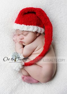 Christmas Santa Hat with Pompom for Newborn and Baby Long Stocking Hat Photography Prop If you are interested please visit my shop at www.1kybele.etsy.com