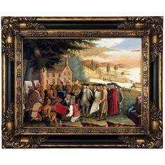 "Historic Art Gallery 'Penn's Treaty with the Indians' Framed Print on Canvas Format: Peru Framed, Size: 17.25"" H x 21.25"" W x 1.5"" D"