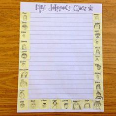Create class stationery...give each student a small post it and have them draw their face and write their first name...then copy!