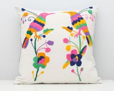 Vintage Embroidered Brightly Coloured Bird Pillow