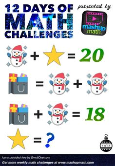 Are You Ready for 12 Days of Holiday Math Challenges? Math Resources, Math Activities, Logic Math, Christmas Math Worksheets, Brain Teasers For Kids, Grade 6 Math, Math Talk, Math Challenge, Singapore Math
