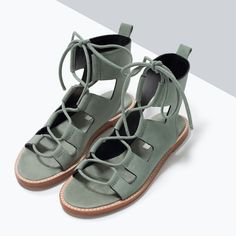 Leather roman sandal from ZARA. Saved to My style. Shop more products from ZARA on Wanelo. Spring Sandals, Summer Shoes, Women's Shoes Sandals, Shoe Boots, Heels, Zara Sandals, Flat Sandals, Gladiator Sandals, Green Sandals