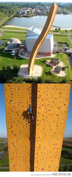 This is the Excalibur climbing tower at the Bjoeks climbing center in Groningen, Netherlands. It is 121 feet (37 meters) tall with an overhang of 36 feet (11 meters), known as the highest climbing tower in the world