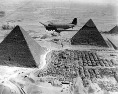 A Douglas C-47 over the Pyramids during World War II