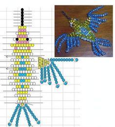 Колибри из бисера параллельным плетением. Схема