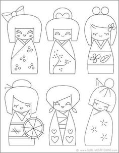 Japanese Embroidery Patterns kokeshi would make cute redwork Embroidery Stitches, Hand Embroidery, Embroidery Designs, Embroidery Techniques, Machine Embroidery, Motifs D'appliques, Coloring Books, Coloring Pages, Colouring