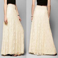 9bb3c761d671 Double Layer Elastic High Waist Beige Elegant Ladies Maxi Long Skirt -  Uniqistic.com Floral