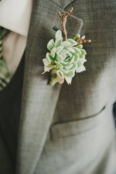 Brides: Succulent Wedding Flowers: Boutonniere Ideas for Your Groom Wedding Groom, Our Wedding, Dream Wedding, Floral Wedding, Wedding Bouquets, Wedding Flowers, Succulent Boutonniere, Boutonnieres, Succulent Corsage