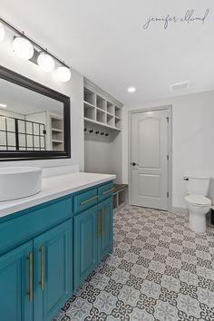 Our Modern and Bright Basement Bathroom - Jennifer Allwood Home Modern Basement, Basement Kitchen, Basement Bathroom, Basement Ideas, Basement Laundry, Basement Stairs, Bathroom Plans, Modern Bathroom, Small Bathroom