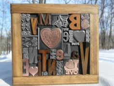 """Letterpress Type & Cuts Graphic Design """" Be My Valentine """" Wood Copper & Metal"""