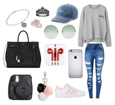"""Untitled #9"" by ele-duperray on Polyvore featuring WithChic, MANGO, adidas, GUESS, Linda Farrow, SO, Fuji, Yves Saint Laurent and Allurez"