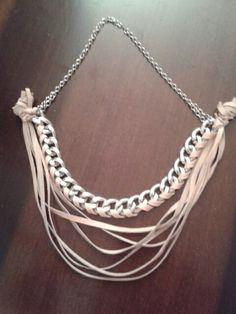 Pink leather necklace #handmade #pink #necklace #chain