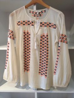 Such a pretty embroidered blouse from Joie! Pair with a summer short for the perfect look!